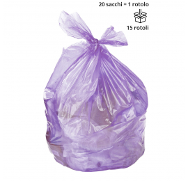 Sacchi spazzatura VIOLA 70 x 110 cm, semi trasparenti - Conf. da 17 rotoli