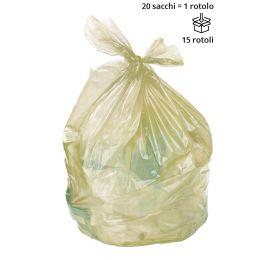 Sacchi spazzatura GIALLO 70 x 110 cm, semi trasparenti - Rotolo da 20 sacchi
