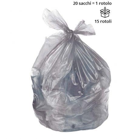 Sacchi spazzatura GRIGIO 70 x 110 cm, semi trasparenti - Rotolo da 20 sacchi