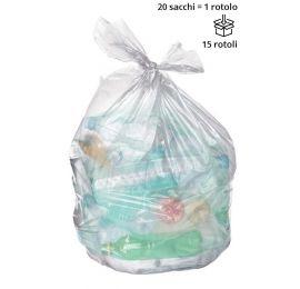 Rotolo 20 sacchi spazzatura TRASPARENTE 70x110 cm