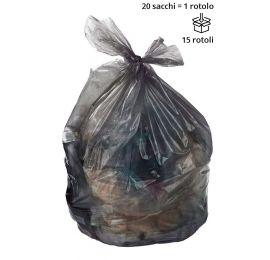 Sacchi spazzatura NERO 70 x 110 cm, semi trasparenti - Rotolo da 20 sacchi