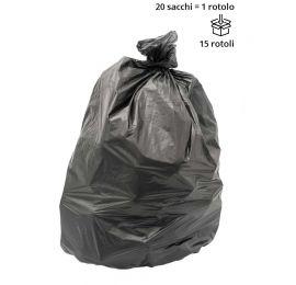 Rotolo 20 sacchi spazzatura NERO 70x110 cm PESANTE