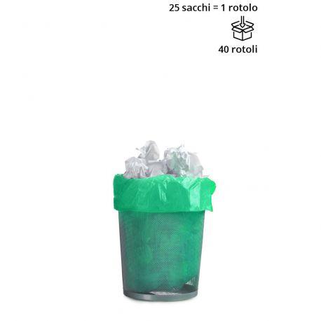 Rotolo 25 sacchetti cestino VERDE 50x60 cm