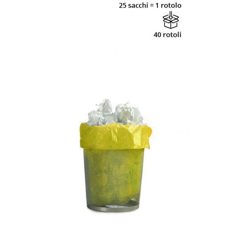 Rotolo 25 sacchetti cestino GIALLO 50x60 cm